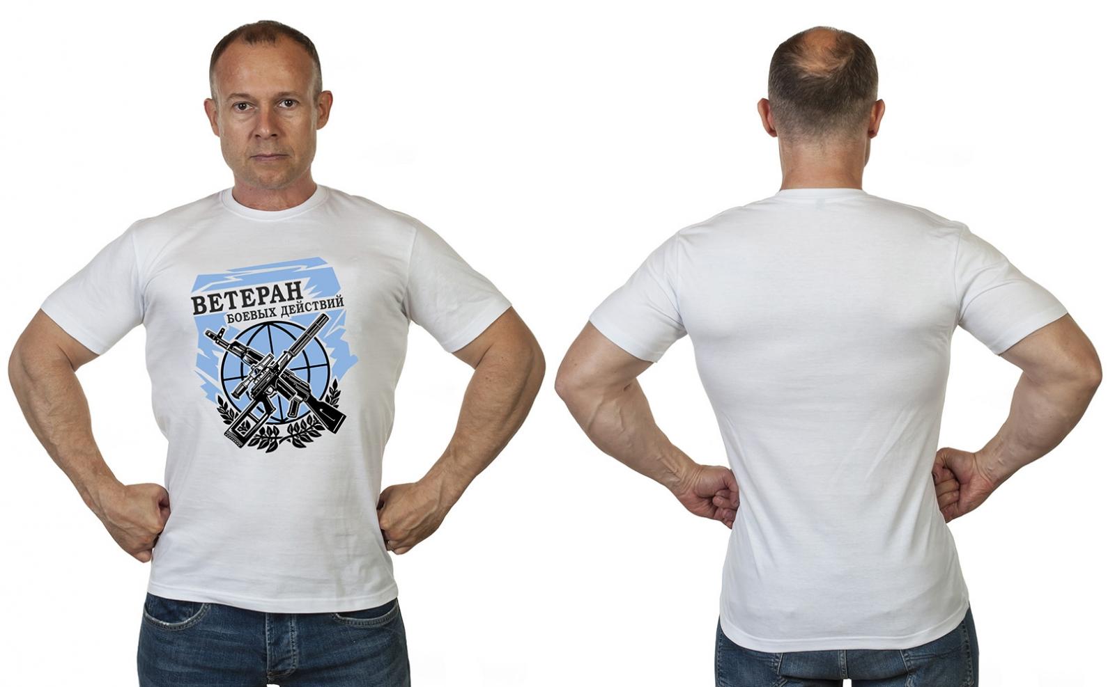 Белая классическая футболка Ветеран боевых действий - купить в Военпро