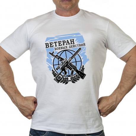 Белая классическая футболка Ветеран боевых действий