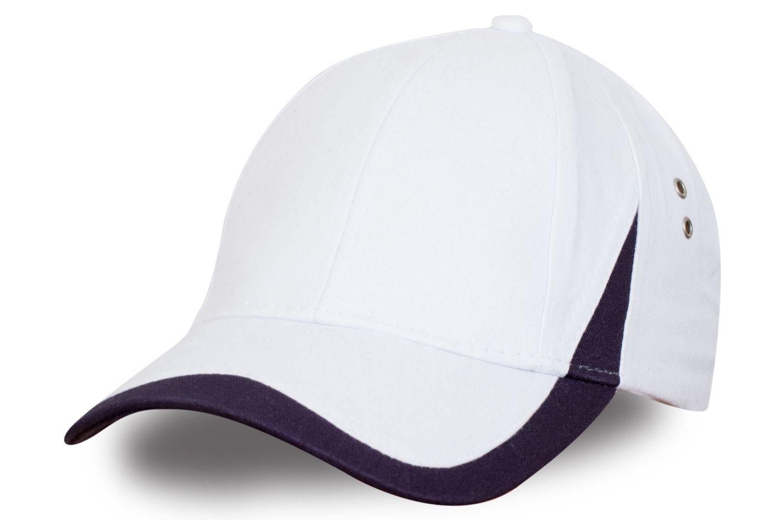 Белая кепка для спорта - заказать оптом с доставкой