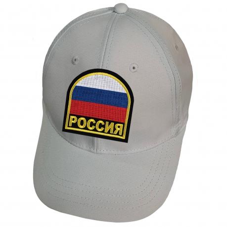 Белая кепка Россия с триколором