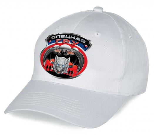 """Белая кепка """"Спецназ ГРУ"""". Эффектная эмблема, качественный пошив. Головной убор что надо, заказывайте!"""