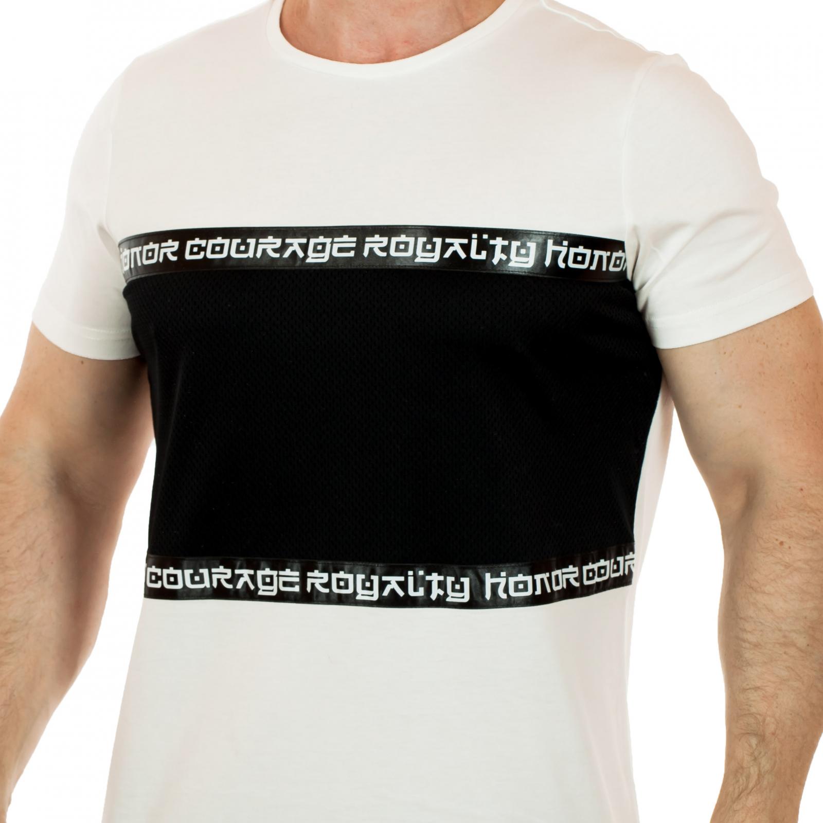 Белая мужская футболка Splash с контрастным черным зонированием и греческой символикой