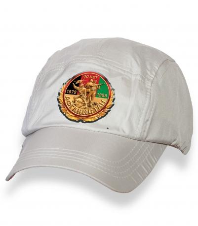 Белая мужская кепка-пятипанелька с термонаклейкой Афган