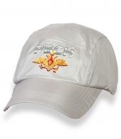 Белая надежная кепка-пятипанелька с термонаклейкой РВСН
