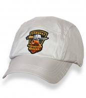 Белая охотничья кепка-пятипанелька с термонаклейкой СПЕЦНАЗ