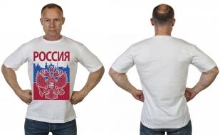 """Белая патриотическая футболка """"Россия"""" с доставкой"""