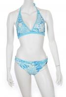 Бело-голубой купальник-халтер от Sunmarin