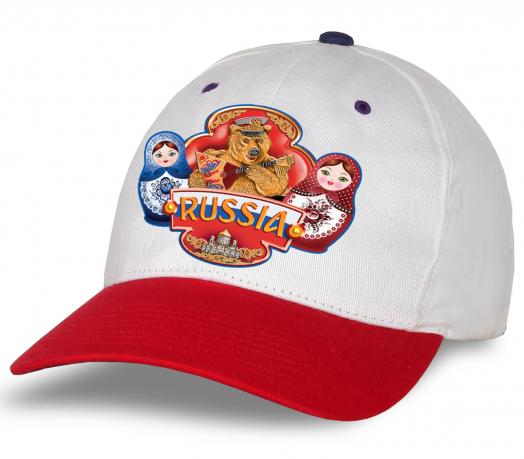 """Бело-красная кепка """"Russia"""" с национальным медведем и матрешками. Безупречное качество, авторский дизайн. Достойный головной убор, заказывай и носи с гордостью!"""