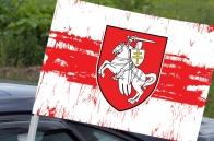 Бело-красно-белый флаг Беларуси с Погоней на автомобиль