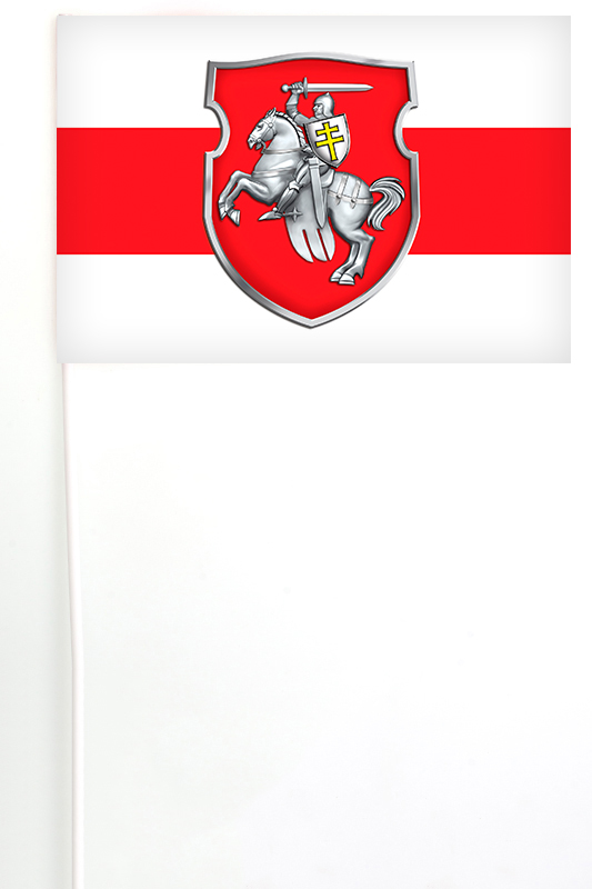 Бело-красно-белый флажок Беларуси на палочке с гербом Погоня