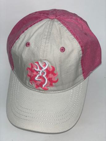 Бело-розовая бейсболка Browning с вышивкой и принтом