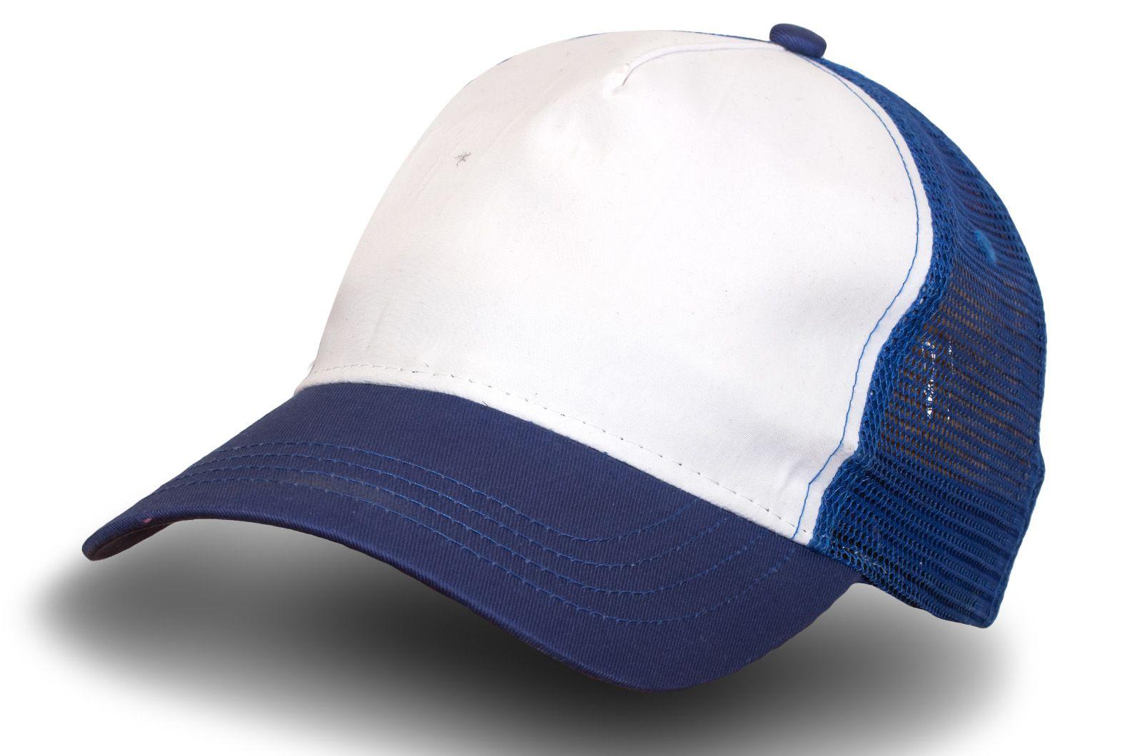 Бело-синяя бейсболка с сеткой | Купить бейсболки в интернет магазине
