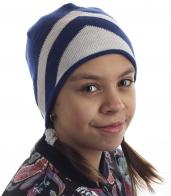 Бело-синяя детская шапка для юных модниц