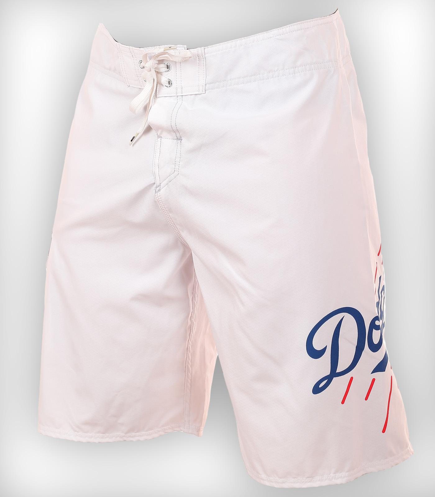 Белые бордшорты с логотипом бейсбольного клуба Los Angeles Dodgers