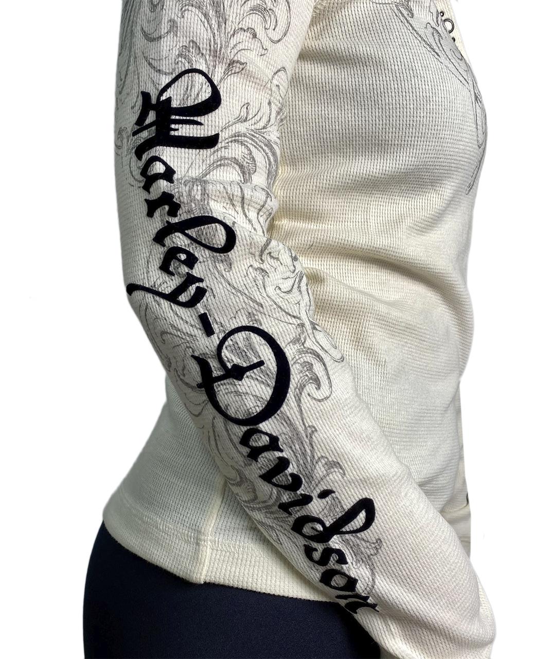 Белый женский реглан Harley-Davidson с капюшоном