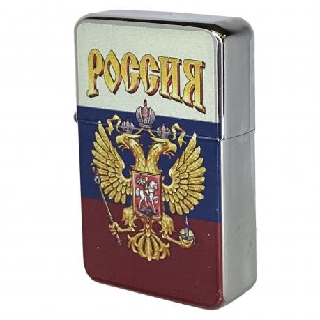 Патриотическая бензиновая зажигалка с гербом России