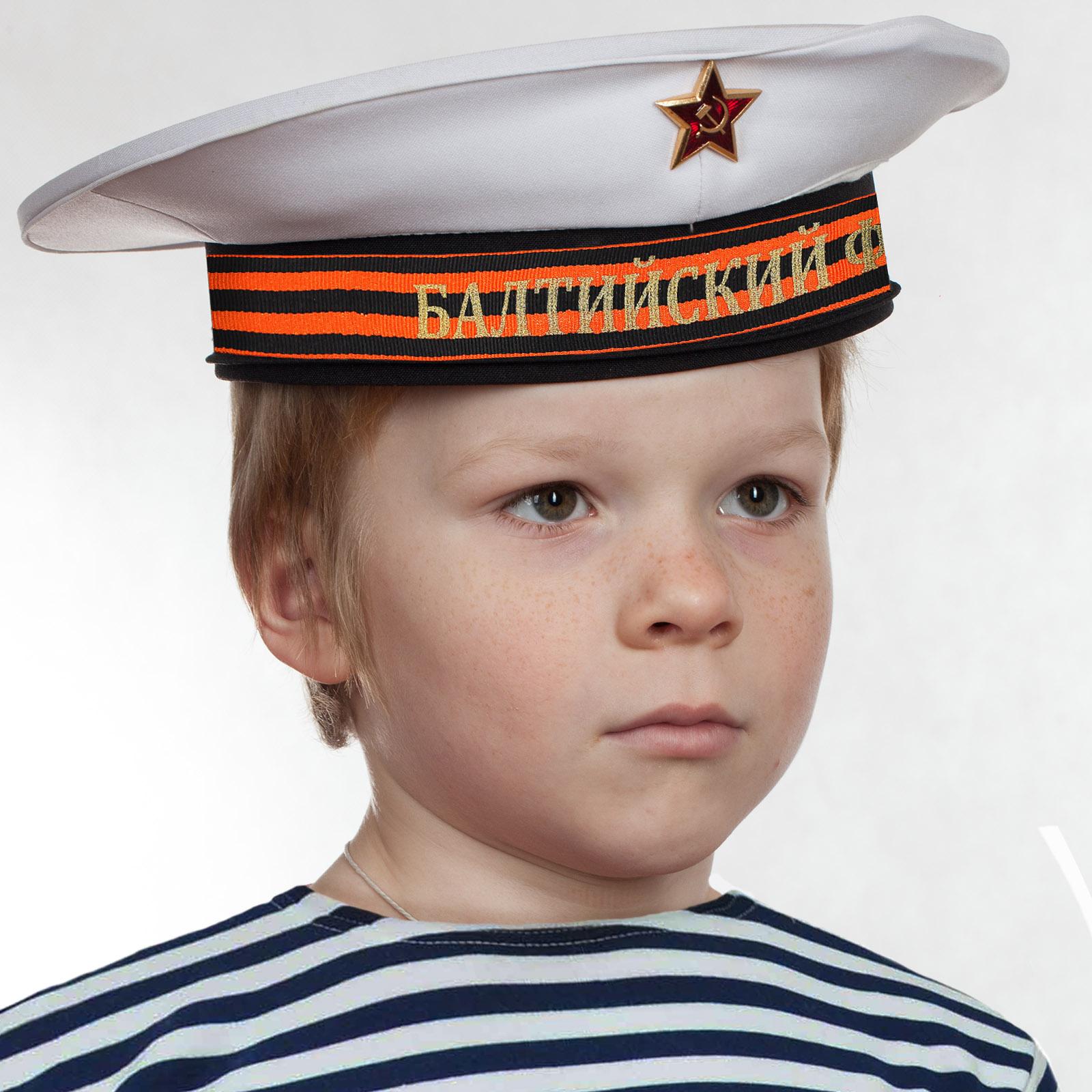 """Бескозырка """"Балтийский флот"""" белая с георгиевской ленточкой"""