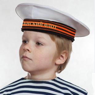 """Бескозырка """"Тихоокеанский флот"""" белая с георгиевской лентой недорого"""