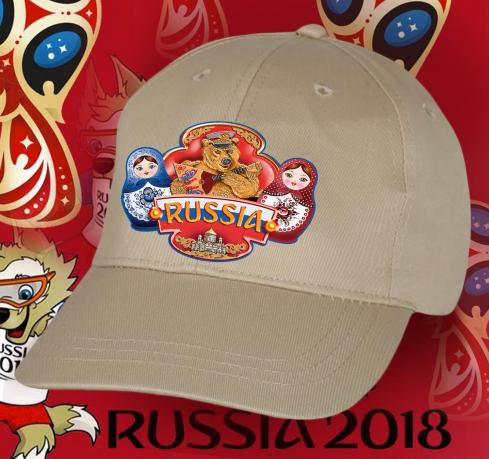 Красивая бежевая кепка Russia