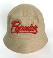 Бежевая летняя панама c 3-D вышивкой Popular