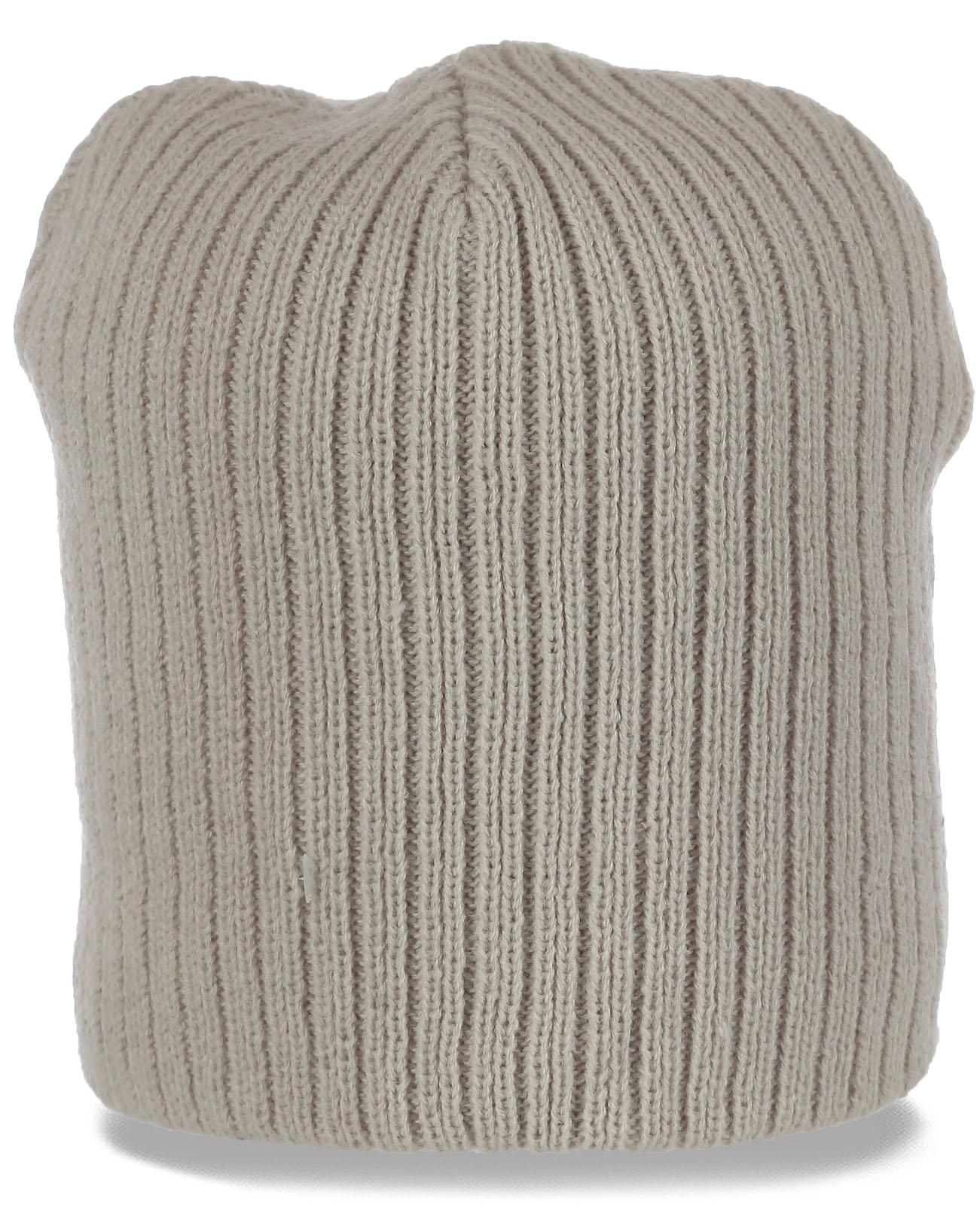 Бежевая универсальная современная женская шапка бини удобного фасона для ценителей качества