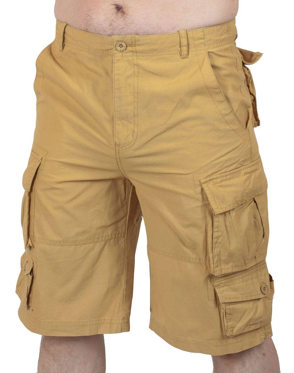 Бежевые шорты карго - вид спереди