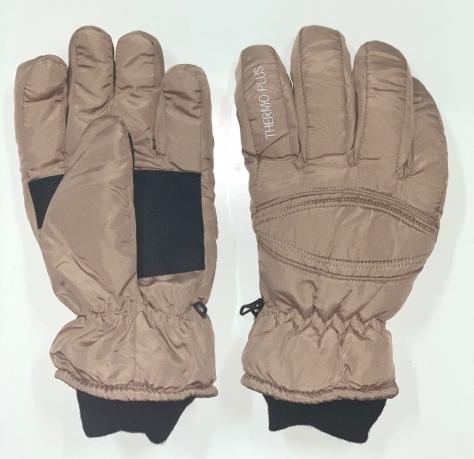 Бежевые зимние перчатки с черными манжетами