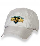 Безупречная белая кепка-пятипанелька с термотрансфером Военная Разведка