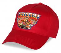 """Безупречное качество по супер-цене! Красная бейсболка """"Russia"""" с медведем. Модная, практичная - то, что нужно для болельщика и патриота. Заказывай!"""