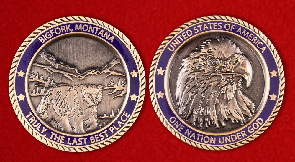 Bigfork, Montana Promotional Blue Challenge Coin