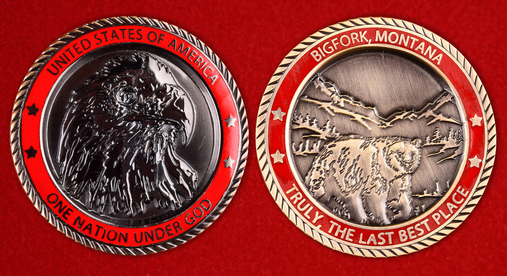Bigfork, Montana Promotional Red Challenge Coin