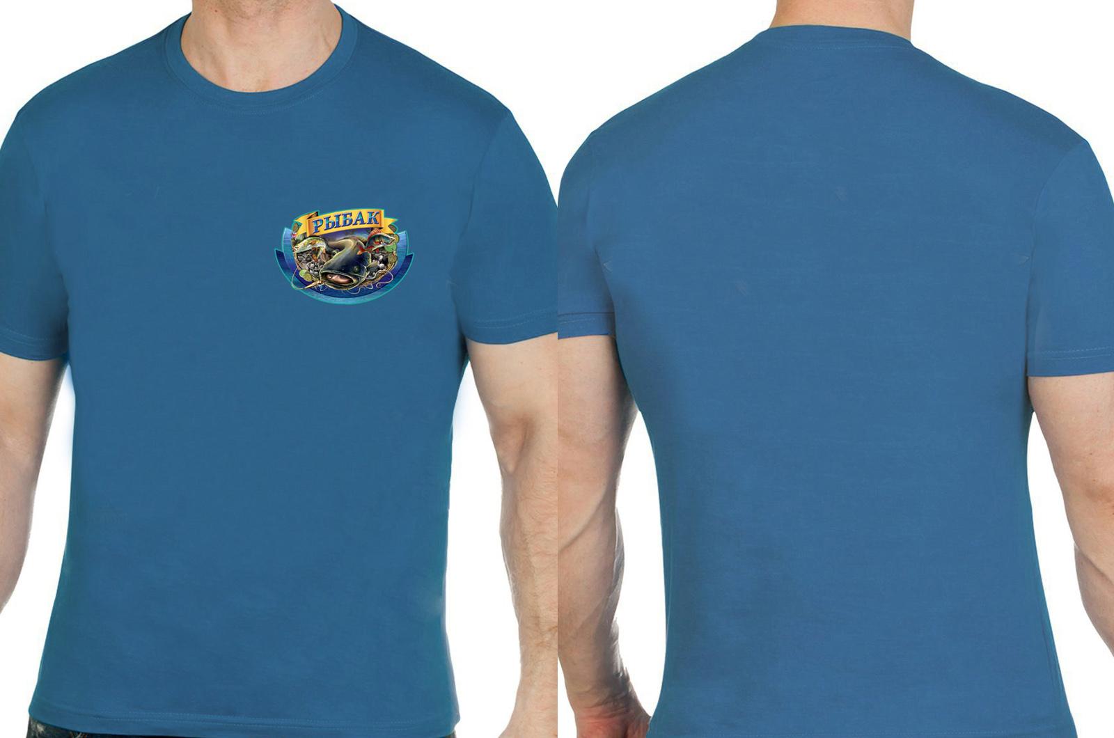 "Бирюзовая футболка ""Рыбак""."