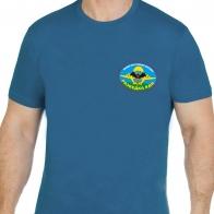Бирюзовая футболка с эмблемой и девизом разведчиков ВДВ