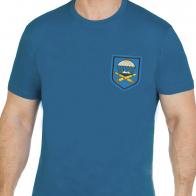 Бирюзовая хлопковая футболка с вышивкой ВДВ