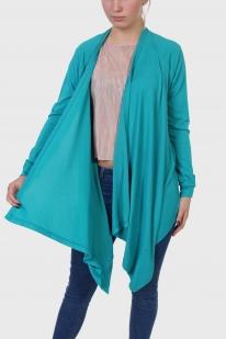 Бирюзовая женская кофта Color с косым подолом.