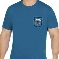Бирюзовая трендовая футболка с вышивкой ВДВ