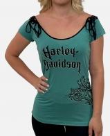 Бирюзовая женская футболка Harley-Davidson