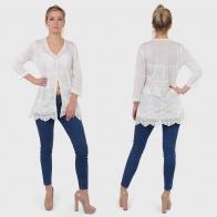 Полупрозрачная ажурная блуза-туника от французского бренда Armand Thiery.