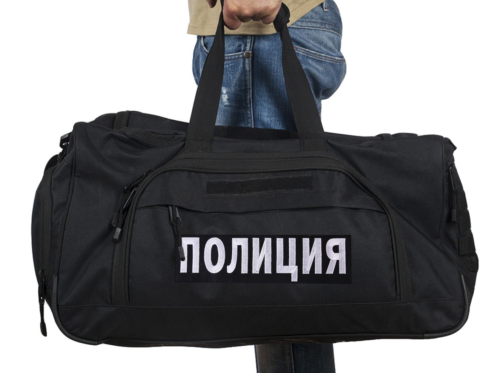 Купить большую военную сумку 08032B Black с нашивкой Полиция с доставкой или самовывозом