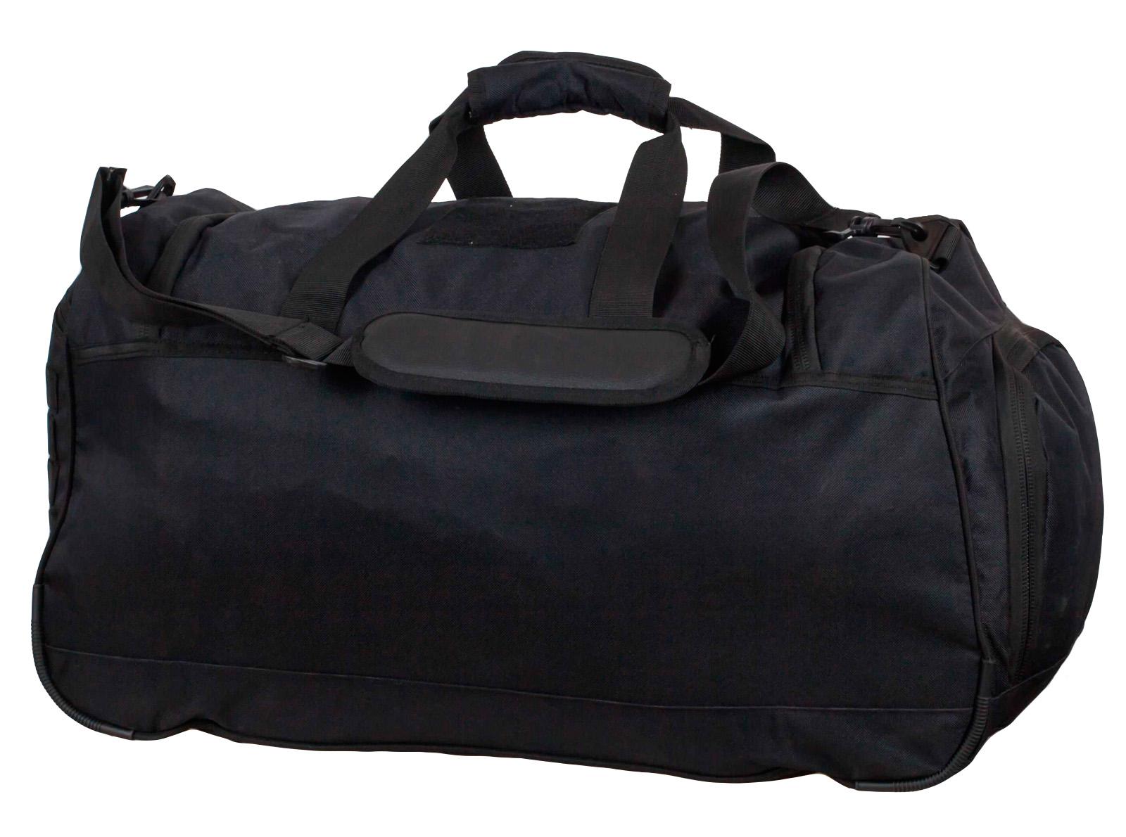 Большая военная сумка 08032B Black с нашивкой Полиция