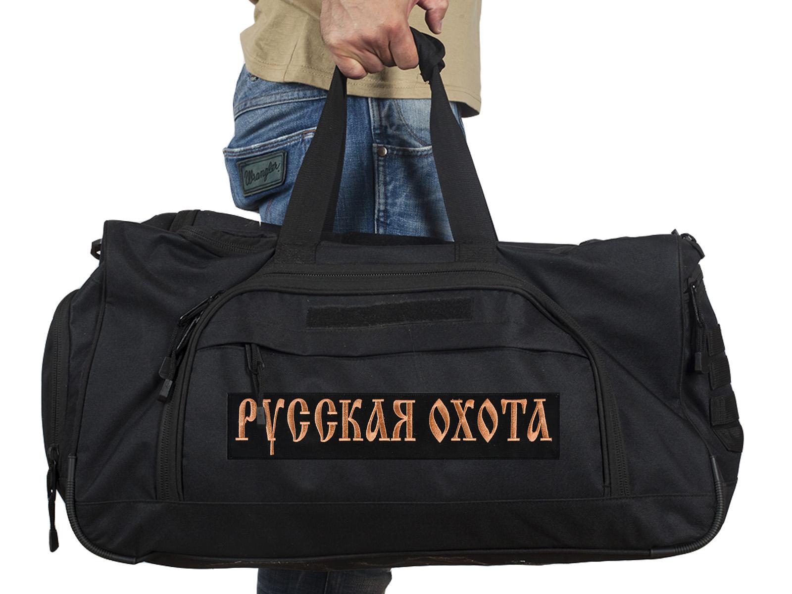 Купить большую военную сумку 08032B Black с нашивкой Русская Охота с доставкой онлайн