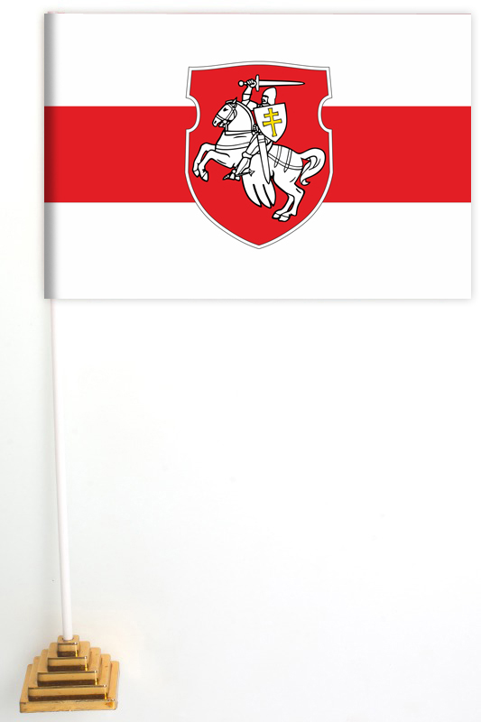 Большой бело-красно-белый флаг Беларуси с гербом «Погоня»