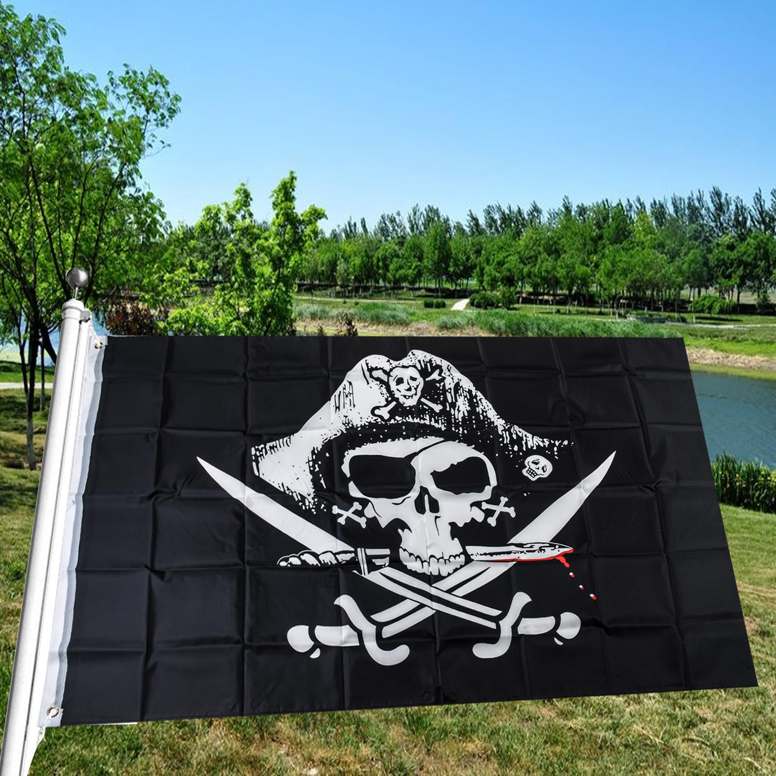 Большой пиратский флаг с люверсами
