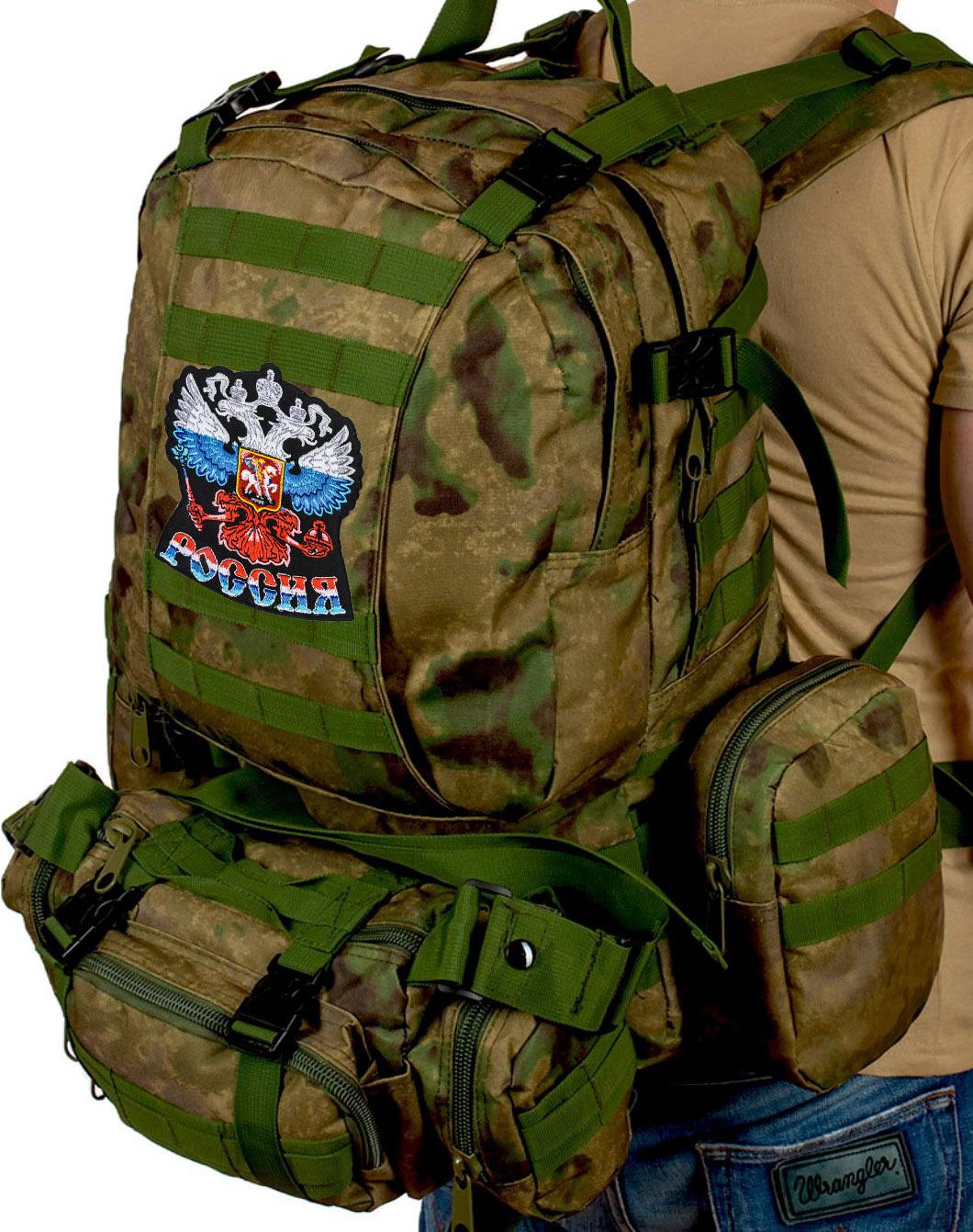 """Большой тактический военный рюкзак для полевых условий с эмблемой """"Россия"""""""