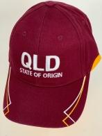 Бордовая бейсболка QLD с желто-белой вышивкой