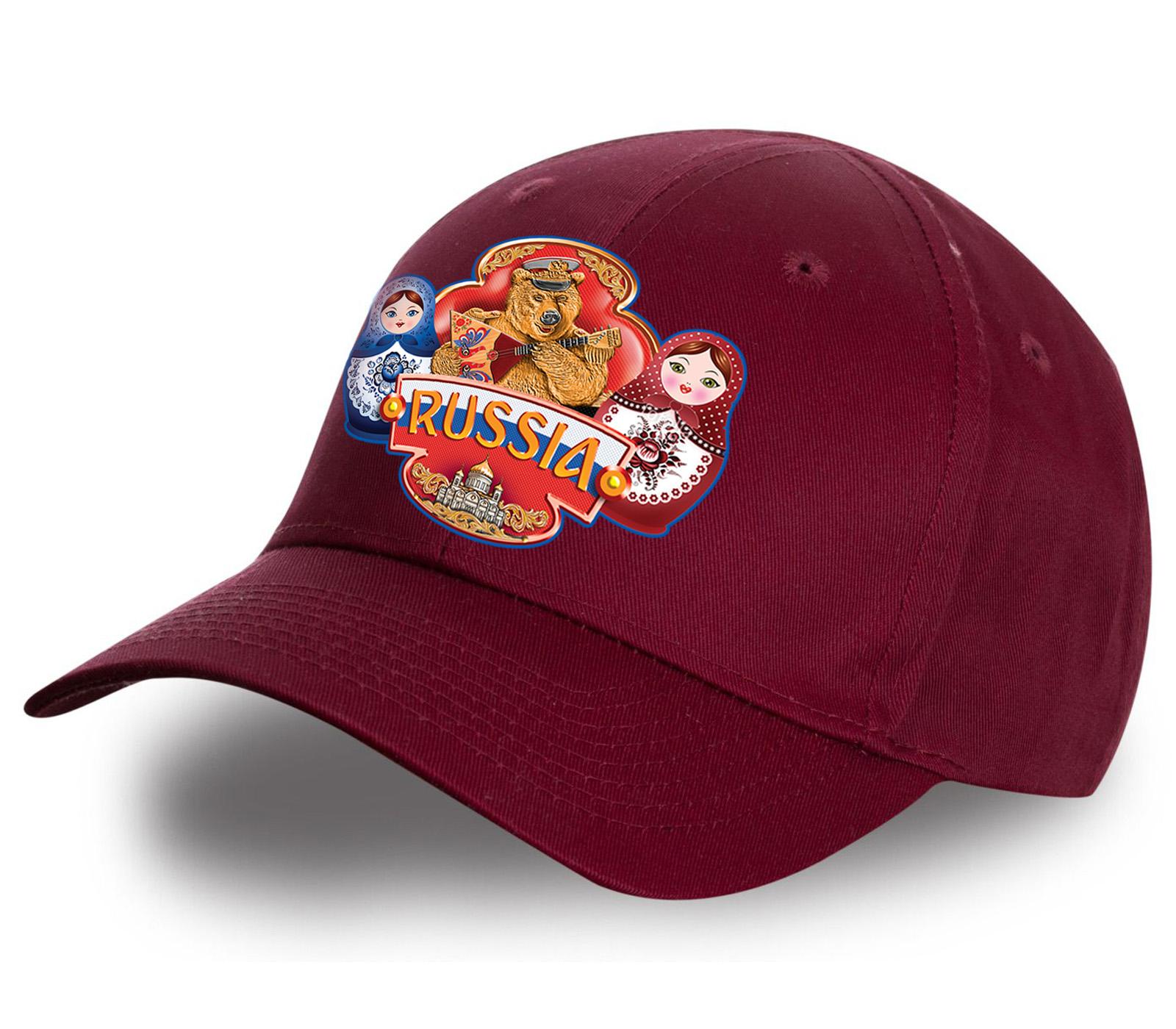 """Бордовая бейсболка """"Russia"""" матрешки - уникальное предложение от Военпро. Стильная модель в мега-популярном дизайне. 100% хлопок. Заказывай и носи гордо!"""