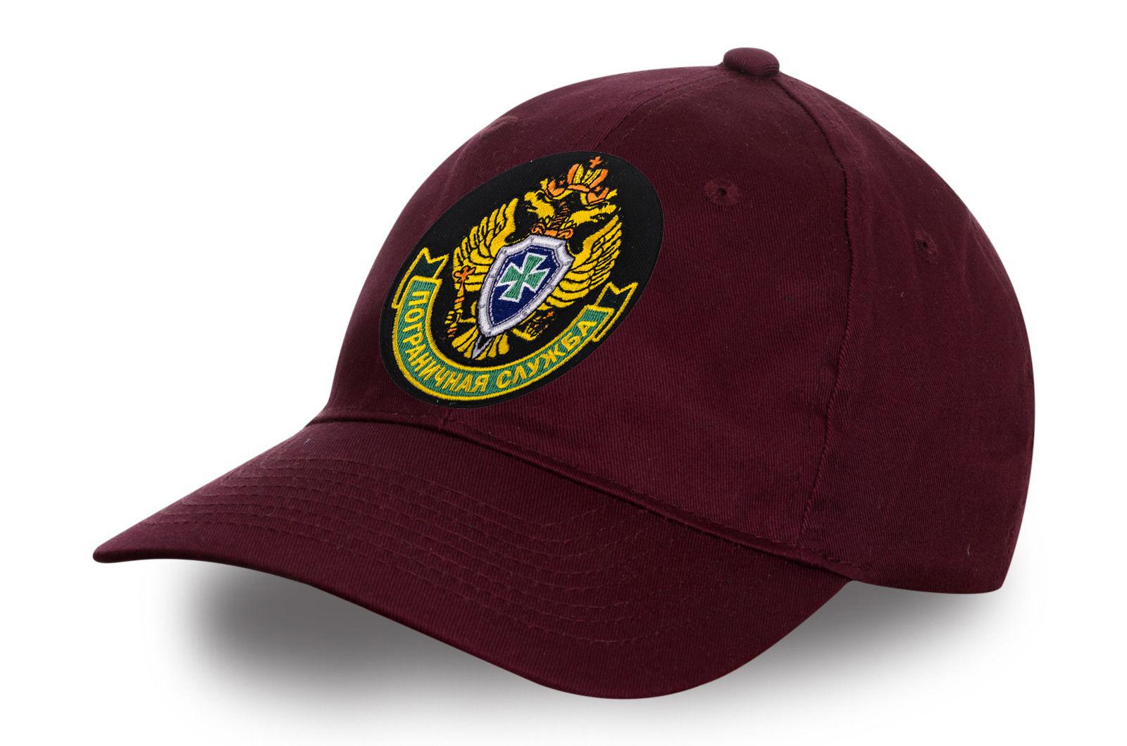 """Бордовая кепка """"Пограничная служба"""" с вышитой эмблемой"""