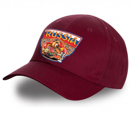 """Бордовая кепка """"Russia"""" в современном дизайне. Самая востребованная модель сезона! Яркий, стильный принт, удобный фасон. Смело заказывай!"""
