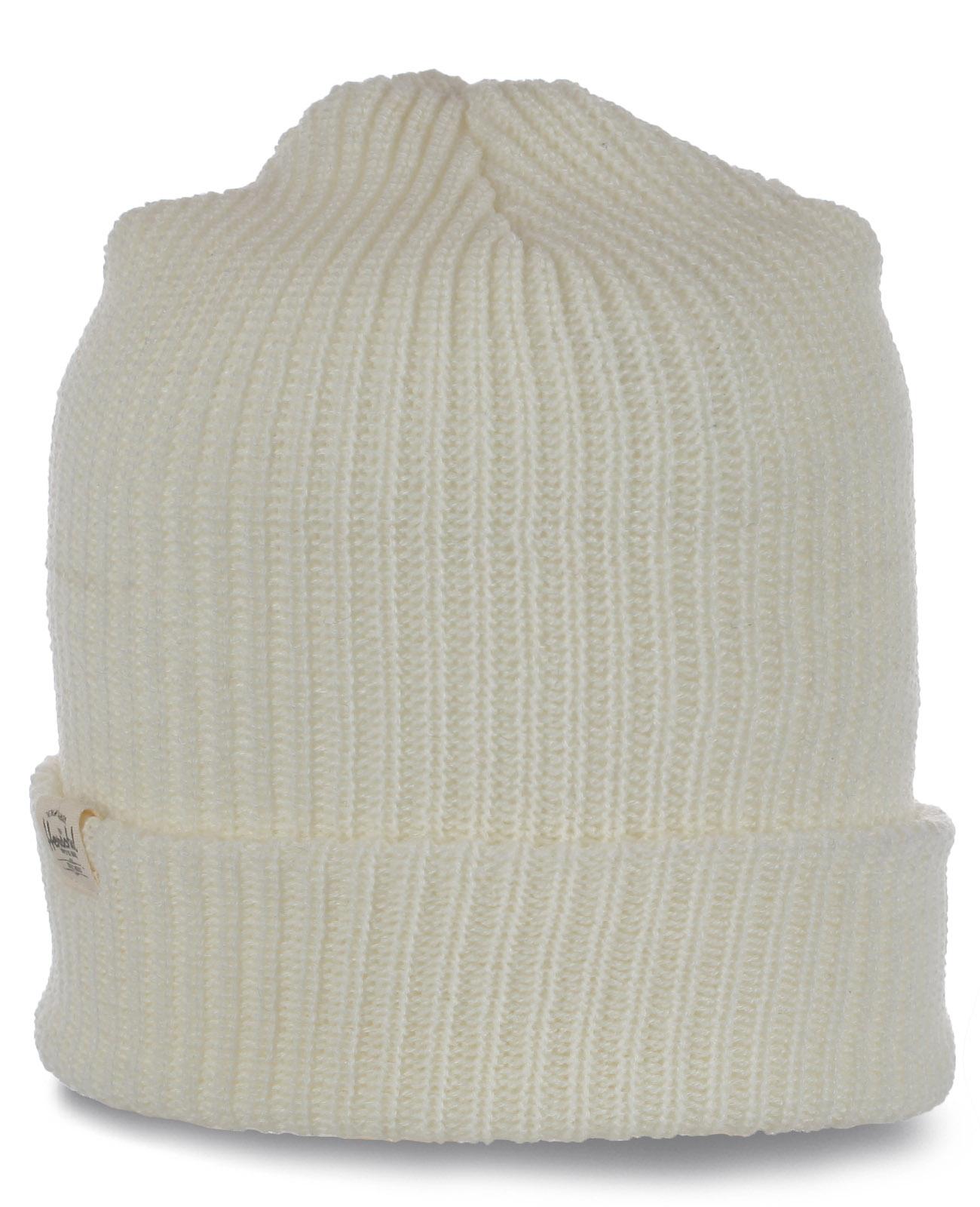 Брендовая белоснежная привлекательная женская шапка первоклассного качества от Herschel