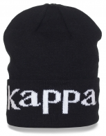 Брендовая шапка Kappa. Черный цвет, подворот. На все случаи жизни!